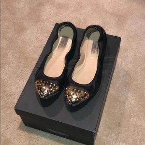 Valentino Gold Studded Toe Flats